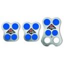 Pédalier K1 CHROME aluminium chromé et picots bleus  SIMONI RACING